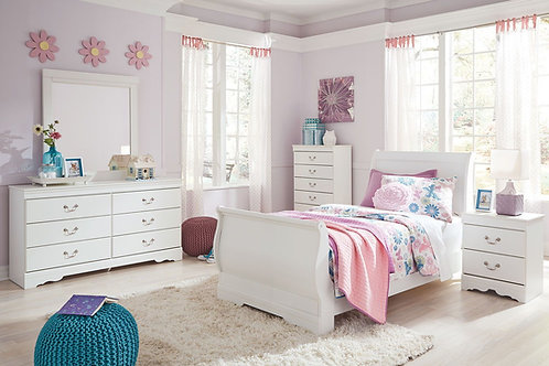 Anarasia - White - 5 Pc. - Dresser, Mirror & Twin Sleigh Bed