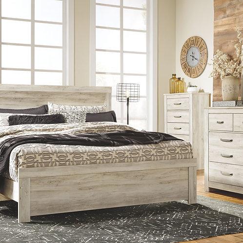 Bellaby - Whitewash - 7 Pc. - Dresser, Mirror, King Panel Bed & 2 Nightstands