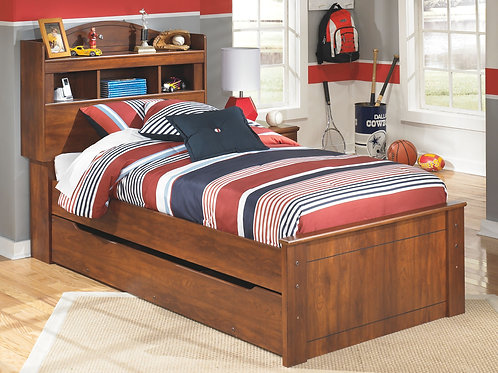 Barchan - Medium Brown - Twin Bookcase Bed with Trundle