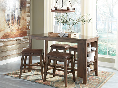 Chaleny - Warm Brown - 5 Pc. - RECT DRM Counter Table & 4 UPH Stools