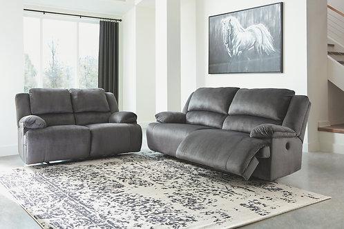 Clonmel - Charcoal - 2 Seat REC Sofa & REC Loveseat