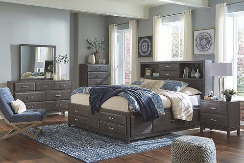 Caitbrook - Gray - 5 Pc. - Dresser, Mirror & Queen Storage Bed