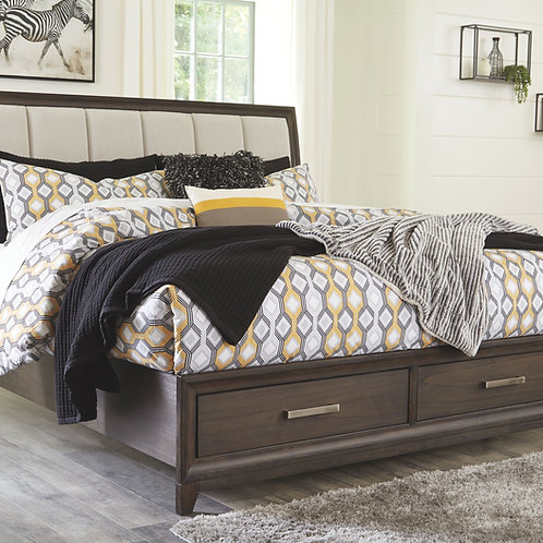 Brueban - Rich Brown/Gray - King Panel Bed with 2 Storage Drawers