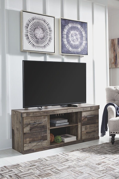 Derekson - Multi Gray - LG TV Stand w/Fireplace Option