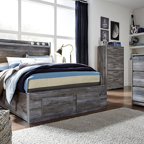 Baystorm - Gray - Full Panel Bed with 6 Storage Drawers
