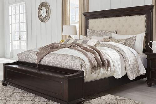 Brynhurst - Dark Brown - King UPH Bed with Storage Bench