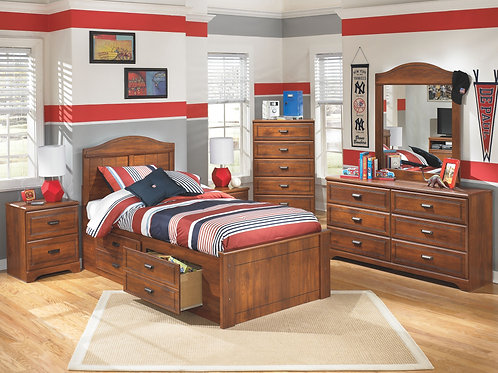 Barchan - Medium Brown - Dresser, Mirror & Twin Panel Bed with 2 Storage Drawers