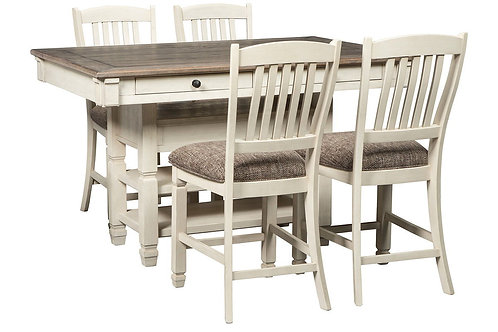 Bolanburg - Antique White - 5 Pc. - RECT DRM Counter Table & 4 UPH Barstools