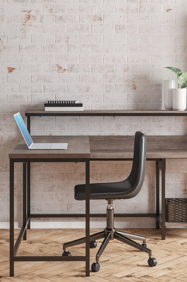 Arlenbry - Gray - L-Desk with Storage, Bookcase & Swivel Desk Chair