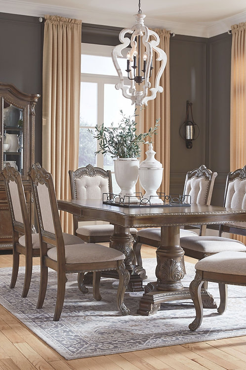 Charmond - Brown - 10 Pc. - RECT DRM EXT, 6 UPH Side Chairs, DRM Buffet & China
