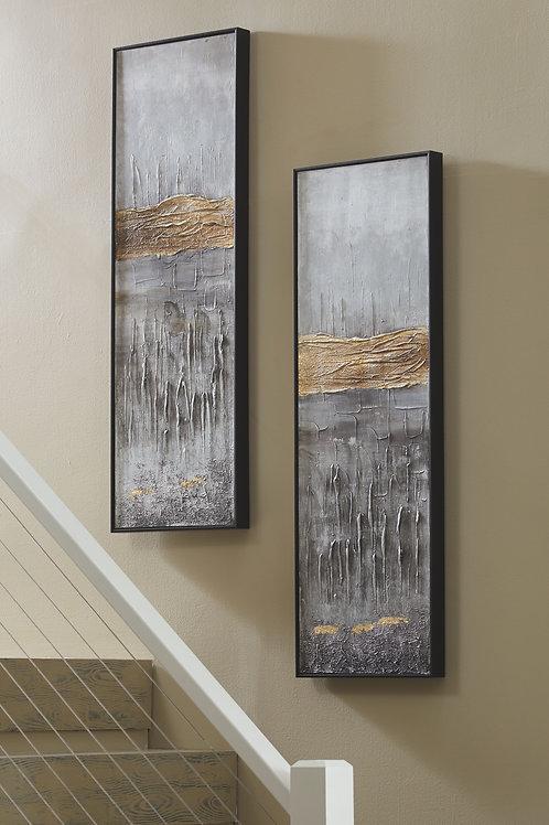 Aniyah - Black/Gold/White - Wall Art Set (2/CN)