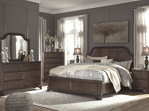 Adinton - Brown - 5 Pc. - Dresser, Mirror & Queen Panel Bed with Storage