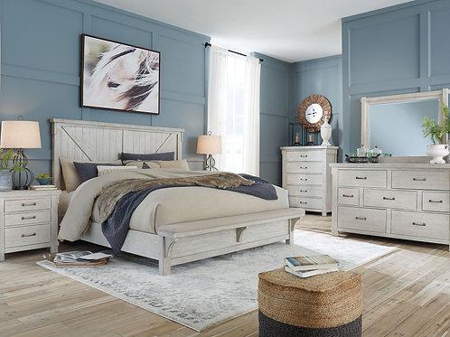 Brashland - White - 5 Pc. - Dresser, Mirror & California King Panel Bed