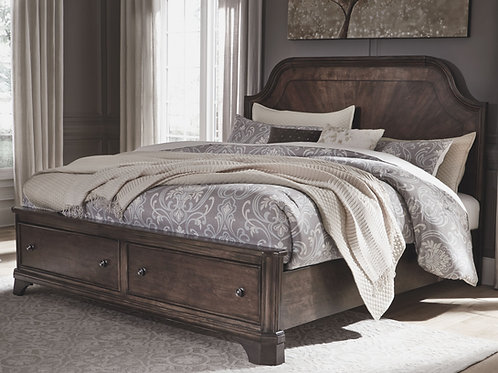 Adinton - Brown - California King Panel Bed with 2 Storage Drawers