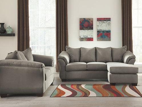 Darcy - Cobblestone - Sofa Chaise & Loveseat