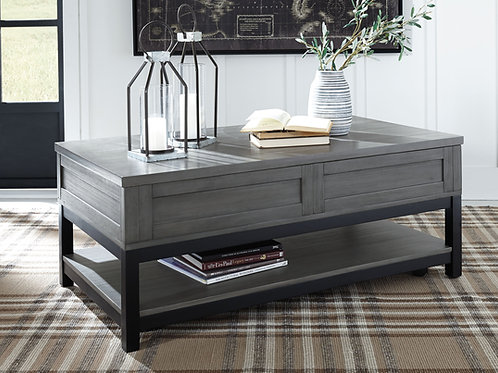 Caitbrook - Gray/Black - LIFT TOP COCKTAIL TABLE