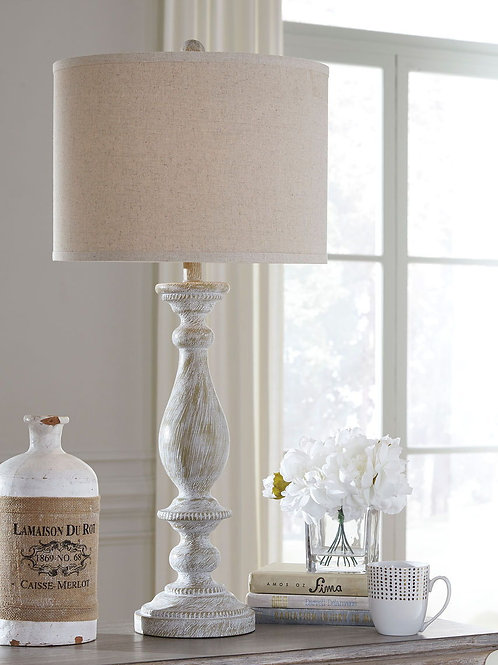 Bernadate - Whitewash - Poly Table Lamp (2/CN)