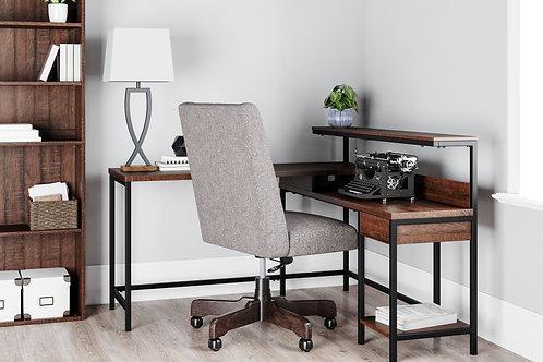 Camiburg - Warm Brown - L-Desk with Storage, Bookcase & Swivel Desk Chair