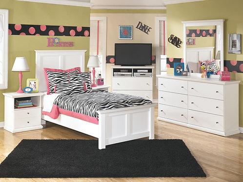 Bostwick Shoals - White - Dresser, Mirror & Twin Panel Bed