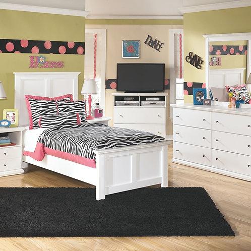 Bostwick Shoals - White - Dresser, Mirror, Twin Panel Bed & 2 Nightstands