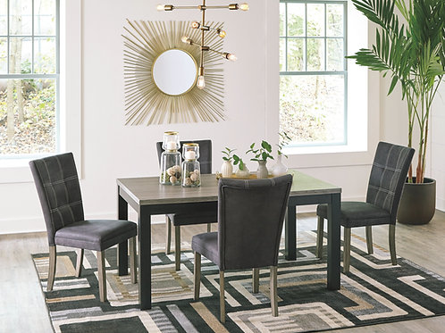 Dontally - Two-tone - 5 Pc. - RECT DRM Table & 4 UPH Side Chairs