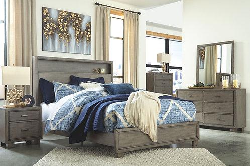 Arnett - Gray - 5 Pc. - Dresser, Mirror, Chest & Queen Storage Bed