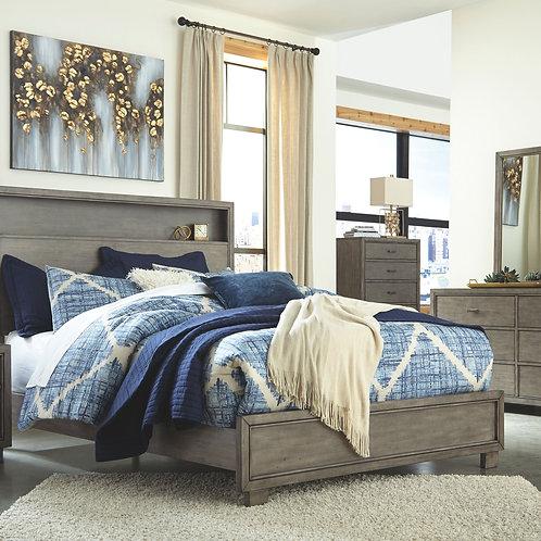 Arnett - Gray - 6 Pc. - Dresser, Mirror, King Bookcase Bed & 2 Nightstands