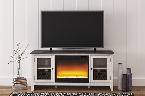 Dorrinson - Two-tone - LG TV Stand with Glass/Stone Fireplace Insert