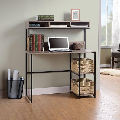 Daylicrew - Grayish Brown/Gunmetal - Home Office Desk and Hutch