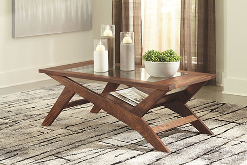 Charzine - Warm Brown - Rectangular Cocktail Table