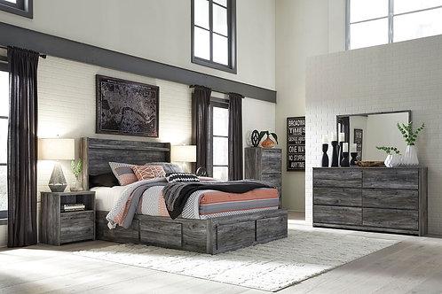 Baystorm - Gray - 8 Pc. - Dresser, Chest, Mirror & Queen Panel Storage Bed