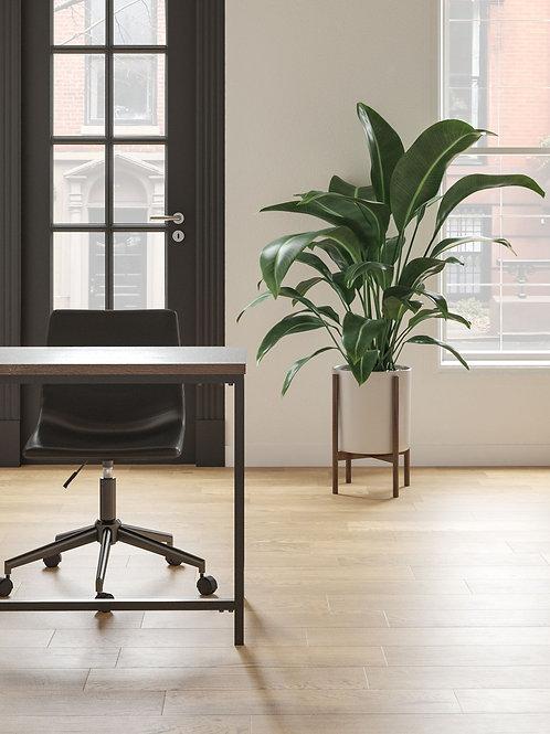 Dorrinson - Two-tone - L-Desk with Storage, Bookcase & Swivel Desk Chair