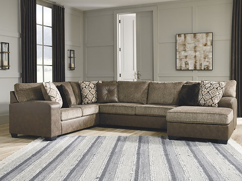 Abalone - Chocolate - 3-Piece Sectional with Chaise