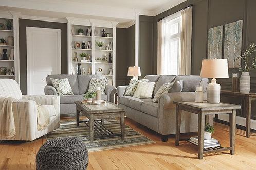 Alandari - Gray - Sofa, Loveseat & Swivel Glider Accent Chair