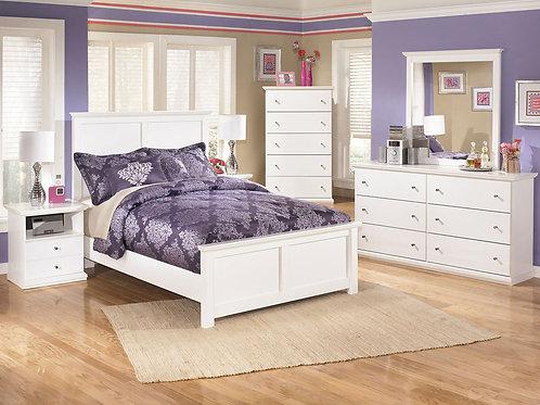 Bostwick Shoals - White - Dresser, Mirror, Full Panel Bed & 2 Nightstands