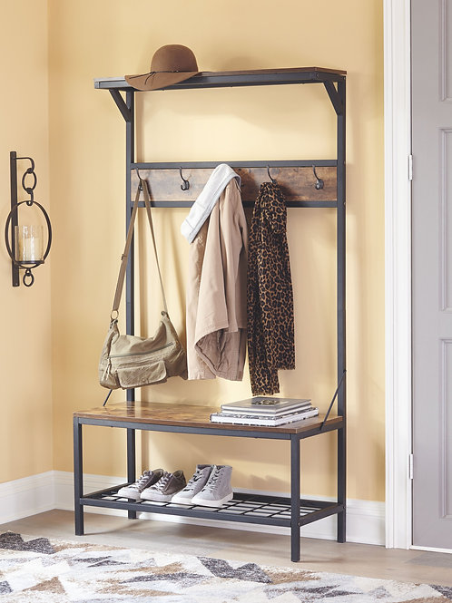 Bevinfield - Brown/Black - Hall Tree with Storage Bench