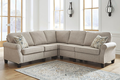 Alessio - Beige - 5 Pc. - Sofa, Wedge, Armless Chair (2), Loveseat Sectional