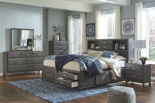 Caitbrook - Gray - 6 Pc. - Dresser, Mirror, Chest & Queen Storage Bed