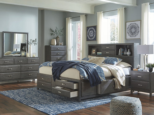 Caitbrook - Gray - 5 Pc. - Dresser, Mirror & King Storage Bed with 8 Drawers