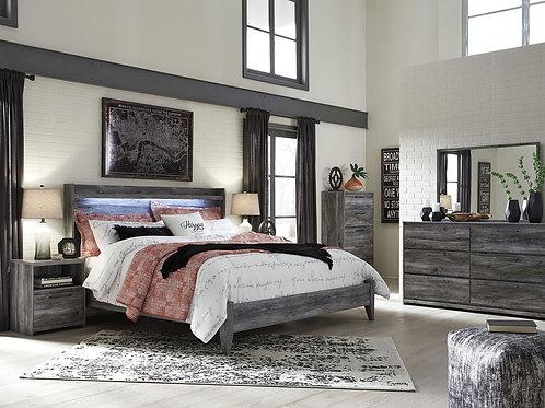 Baystorm - Gray - 4 Pc. - Dresser, Mirror & King Panel Bed