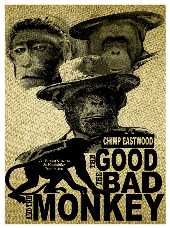 The Good The Bad & The Monkey movie spoof design by Marcelle Mitchener