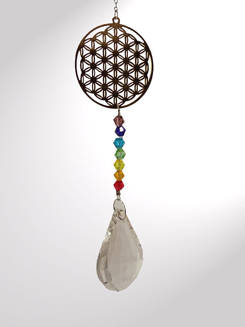 kristaldruppel met chakra levensbloem