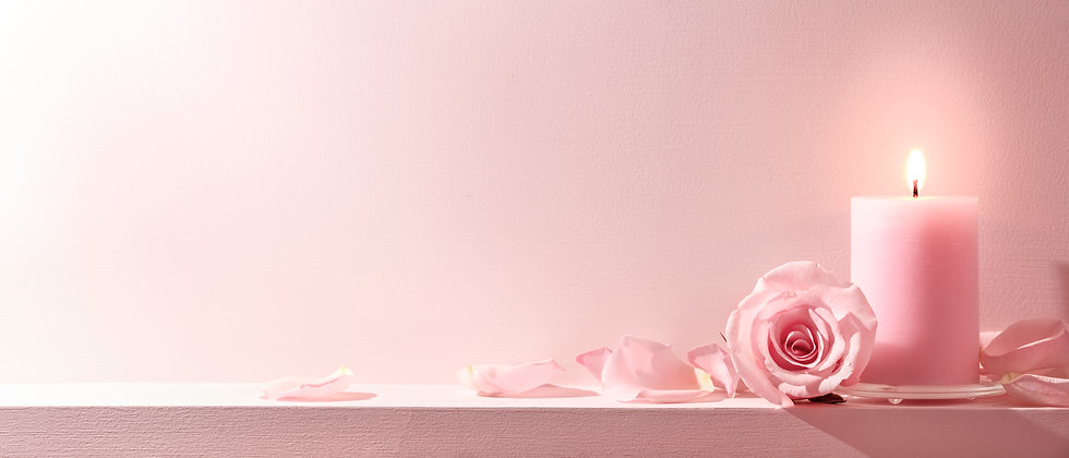 Pink Roses and candle on a pink backgrou