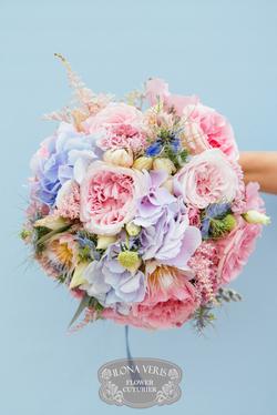 розово-голубой букет невесты
