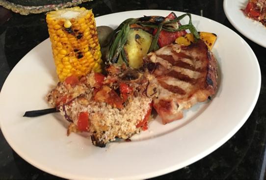BBQ pork & grilled vegetables