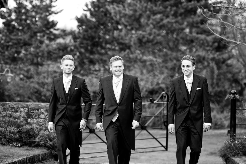 040 Groom and best men at Dewsall Court.