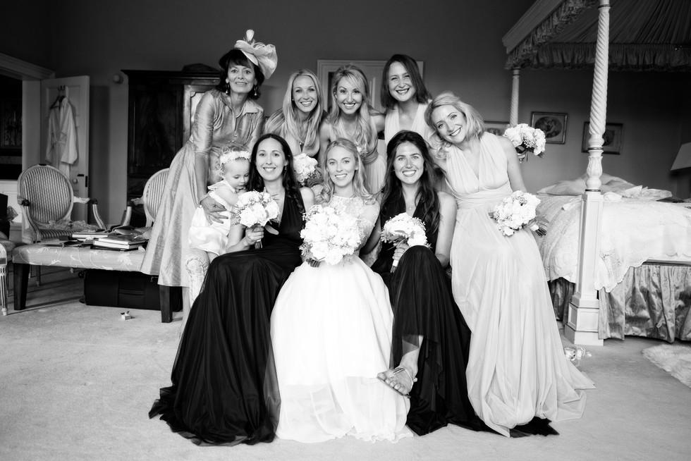 028 Bride with bridesmaids and mum at No