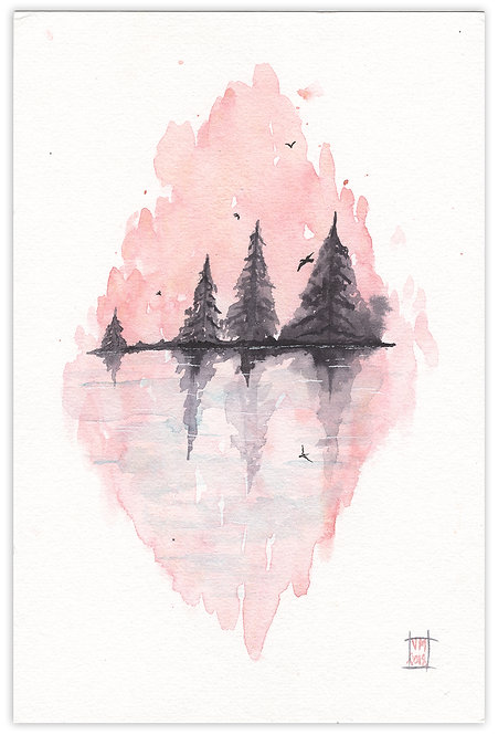 Blush Lake-Watercolor Painting