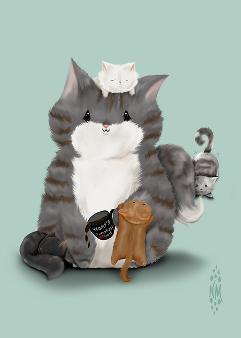 Pat the Dad Cat Art Print