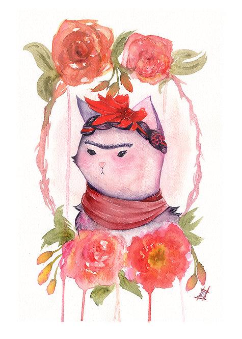 Floral Framed Kitty Kahlo Art Print